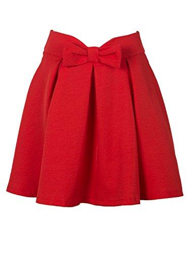Persun Women Red Bowknot Waist Pleat Detail Skater Skirt,6,Red