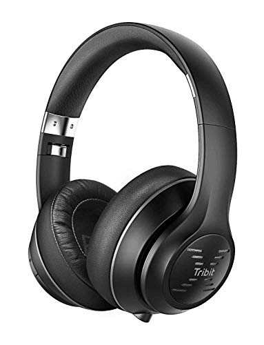 Tribit XFree Tune Bluetooth Headphones Over Ear - Wireless Headphones Noise Cancelling, Hi-Fi Stereo Sound with Rich Bass, Built-in Mic, Soft Earmuffs - Foldable Headset, 24 Hrs Playtime, Black