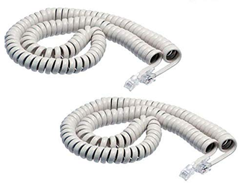 iMBAPrice (Pack of 2) White Coiled Telephone Phone Handset Cable Cord, Coiled Length 3 to 12 feet Uncoiled (Value Pack)