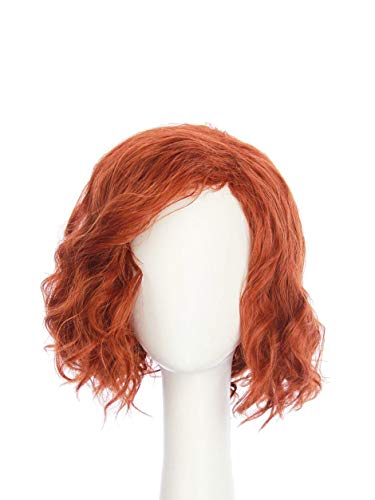 HANGCosplay Short Curly Wavy Red Wig for Adults and Teens Costume Halloween Club Party and Daily Use Black Widow Cosplay