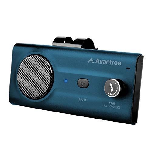 2021 Avantree CK11 Bluetooth 5.0 Hands Free Cell Phone Car Kit, Loud Speakerphone, Support Siri Google Assistant, Motion AUTO ON, Volume Knob, Wireless in Car Handsfree Speaker with Visor Clip – Blue