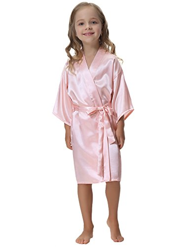 Aibrou Kids' Satin Kimono Robe Bathrobe Nightgown For Spa Party Wedding Birthday,Pink,Size:6