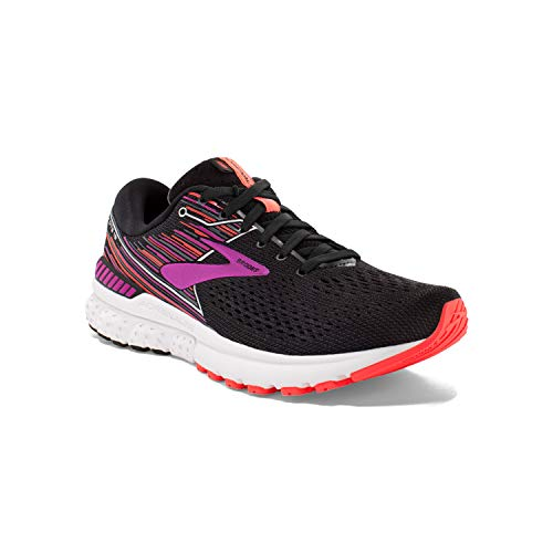 Brooks Womens Adrenaline GTS 19 Running Shoe - Black/Purple/Coral - D - 10.0