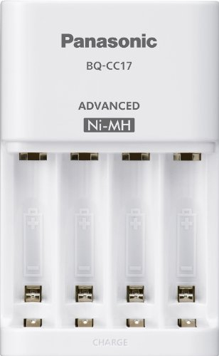 Panasonic BQ-CC17SBA eneloop Advanced Individual Battery Charger with 4 LED Charge Indicator Lights, White