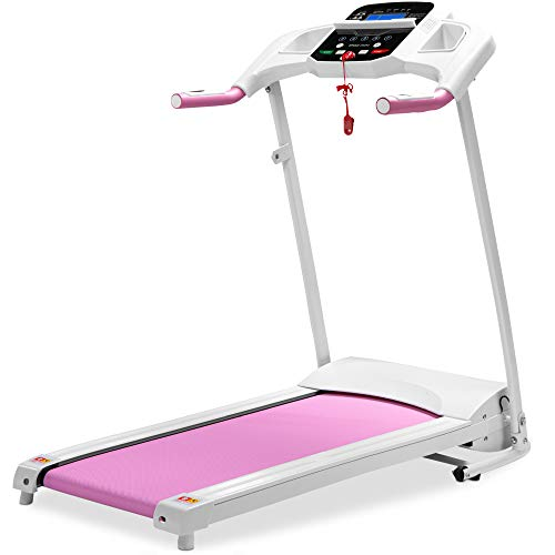 Best Choice Products 800W Folding Electric Treadmill, Motorized Fitness Exercise Machine for Home Gym, Cardio Training w/Wheels, Safety Key, Heart Sensor - Pink