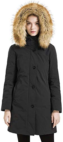 Valuker Women's Waterproof Thickened Down Parka Coat With Fur 90% Down Coat 99-Black-L