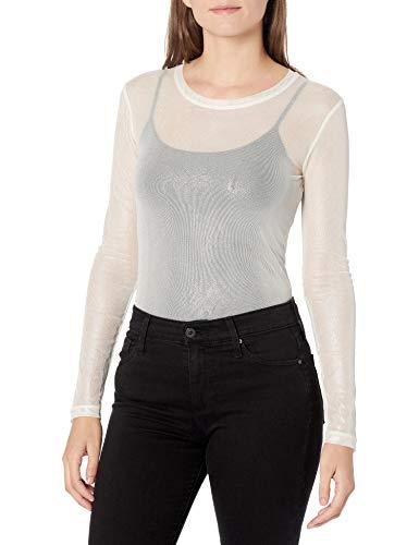 BCBGMAXAZRIA Women's Long Sleeve Mesh Top, Light Stone Combo, XS (US 2)