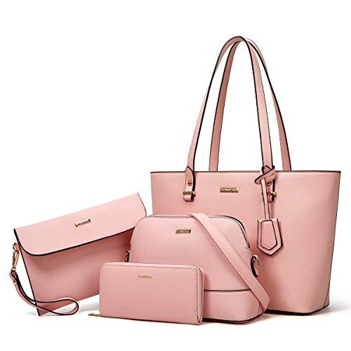 Women Fashion Handbags Tote Bag Shoulder Bag Top Handle Satchel Purse Set 4pcs (Pink)