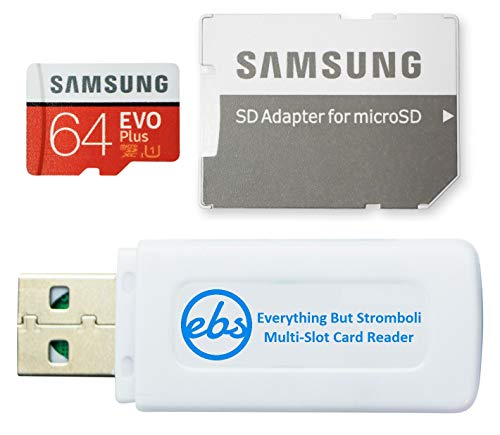 Samsung 64GB Evo Plus Class 10 MicroSD Memory Card Works with Galaxy Tablet Tab S5e, Tab S4 10.5, Tab 10.1 (2019), Book S (MB-MC64) Bundle with (1) Everything But Stromboli Micro Card Reader