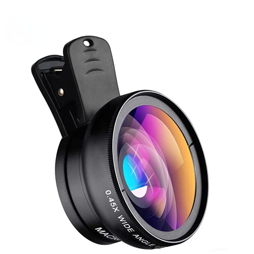 APEXEL 2021 New HD Cell Phone Camera Lens 2 in 1 Clip-on Lens Kit 0.45X Super Wide Angle & 12.5X Macro Phone Camera Lens for iPhone 8 7 6s 6 Plus 5s Samsung Android & Most Smartphones Black