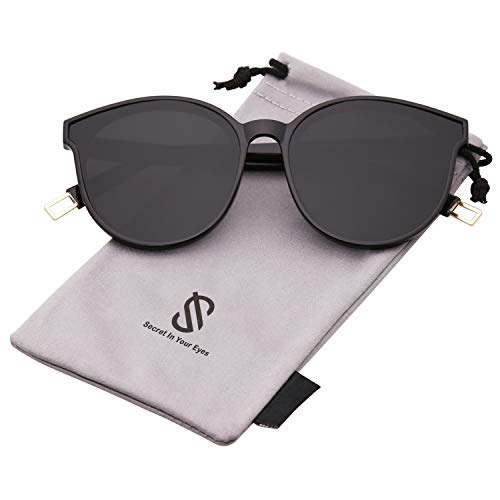 SOJOS Fashion Round Sunglasses for Women Men Oversized Vintage Shades SJ2057 with Black Frame/Grey Lens