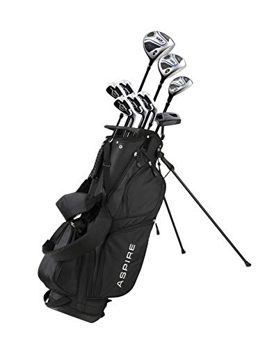 Aspire XD1 Men's Complete Golf Clubs Package Set Includes Titanium Driver, S.S. Fairway, S.S. Hybrid, S.S. 6-PW Irons, Putter, Bag, 3 H/C's Right Hand - Blue - Choose Size! (Regular Size, Right Hand)