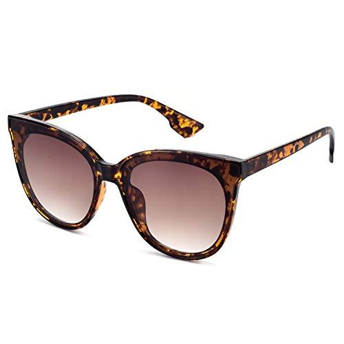 Mosanana Classic Round Cateye Sunglasses for Women Trendy Style Turtle Tortoise Shell Retro Vintage Cat Eye Stylish Designer Fashion Chic Sunnies Shade Mod 100% UV Protection 70 Thick 2018 Inspired