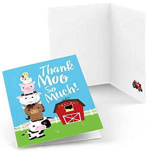 Big Dot of Happiness Farm Animals - Baby Shower or Birthday Party Thank You Cards (8 Count)