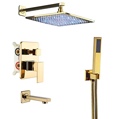 Rozin LED Light 12-inch Rainfall Shower Set 3 way Mixer Kit Tub Faucet with Handheld Spray Gold Color