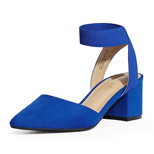 DREAM PAIRS Women's Royal Blue Suede Low Block Chunky Heel Ankle Strap Pumps Shoes Size 8.5 M US NICHOLES