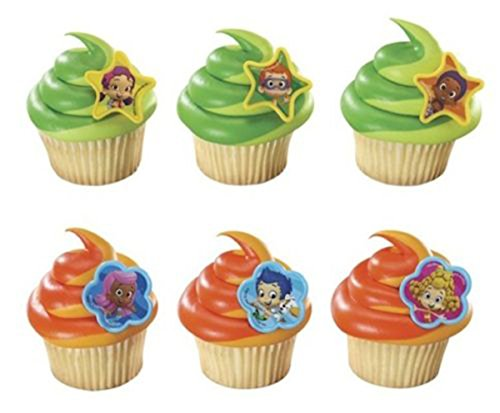 Bubble Guppies 24 Cake Cupcake Pop Rings Girl Birthday Party Decorations Favors