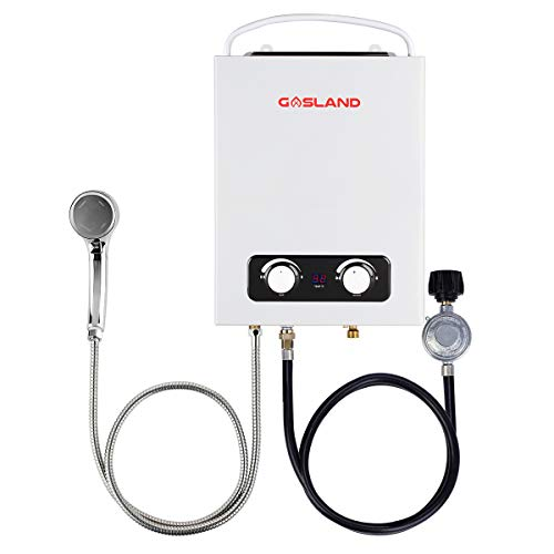 Tankless Water Heater, GASLAND Outdoors AS150 1.5GPM 6L Portable Gas Hot Water Heater, Instant Water Heater Propane for RV Camping, Overheating Protection, Easy to Install, White