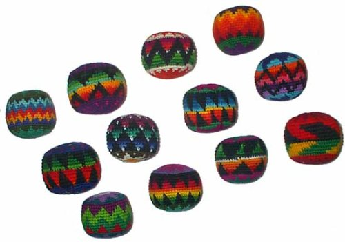 Turtle Island Imports Set of 12 Hacky Sacks, Assorted Colors and Geometric Patterns