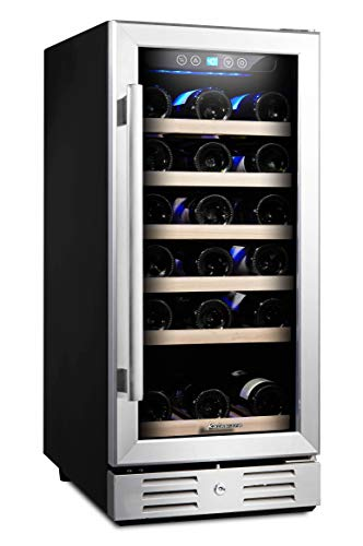 Kalamera 15 Inch Wine Cooler Refrigerator 30 Bottle with Stainless Steel & Double-Layer Tempered Glass Door and Temperature Memory Function Built-in or Freestanding Mini Fridge