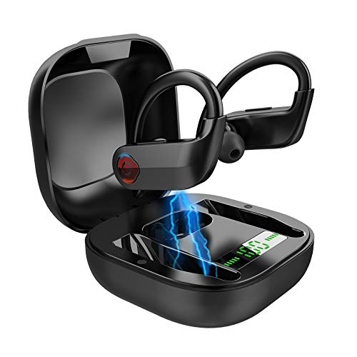 Wireless Earbuds Bluetooth 5.0 Headphones, Deep Bass Stereo Sound Bluetooth Earbuds, Truly Wireless in-Ear Earphones with Noise-Cancelling Mic, IPX7, 50 Hours Playtime, Ear Hook for iPhone/Android