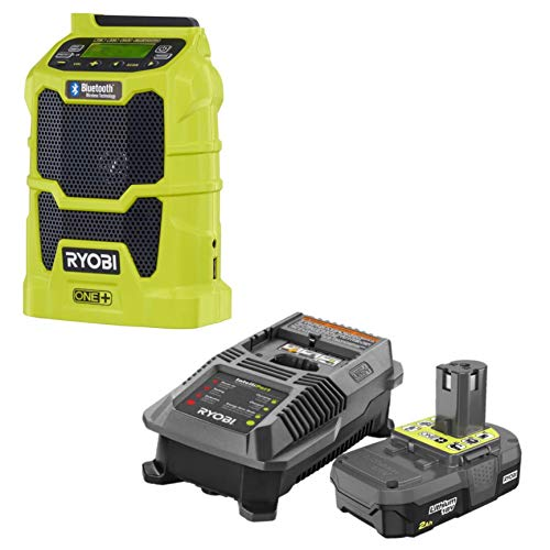 Ryobi P742 18V Cordless Compact AM/FM Radio w/Wireless Bluetooth Technology with Charger and Lithium-ion Battery (P163) 8-Volt ONE+ 2.0 Ah Battery