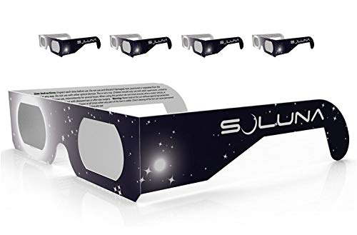 Solar Eclipse Glasses - CE and ISO Certified Safe Shades for Direct Sun Viewing - Made in the USA (5 Pack) by Soluna