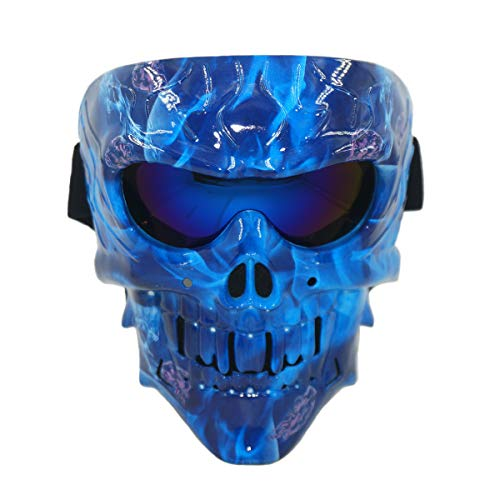 Lawnite Skull Airsoft Mask,Full Face Protective Paintball Masks,Airsoft Tactical Mask for Outdoor Cs Wargame, Eye Protection Mask, Cosplay and Movie Camouflage Mask (3-Blue Flame)