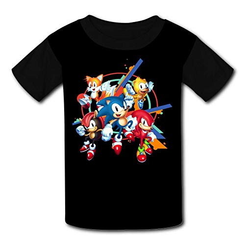 Black Raglan T-Shirts, Son-ic - Man-ia Short Sleeve Sports Sweat Tee for Teen Kids Boys Girls