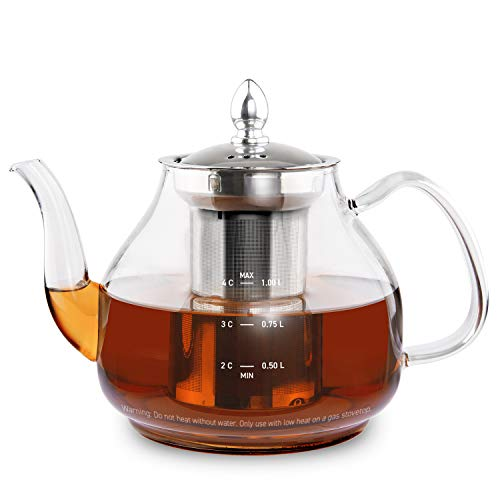 COSORI Glass Teapot Scale Line & Removable Stainless Steel Infuser Stovetop Safe Gooseneck Kettle for Blooming and Loose Leaf Tea Brewer, BPA Free Durable Borosilicate, 1000mL, Transparent