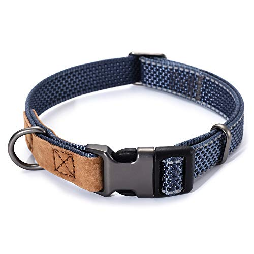 Mile High Life   Reflective Nylon Dog Collar w Genuine Leather Tip   Small Medium Large Dog Collar   Metal Buckle and D Ring   Strong Stitch and Reflective for Safe Night Walk(Charcoal)