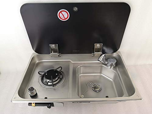 GR-903 Boat Caravan RV Camper LPG Gas Stove Hob and Sink Comb with Tempered Glass Lid (Sink Stove and Faucet)