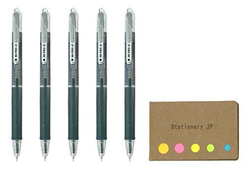 Pilot Hi-Tec-C SlimKnock 04 Retractable Gel Ink Pen, Ultra Fine Point 0.4mm, Black Ink, 5-Pack, Sticky Notes Value Set