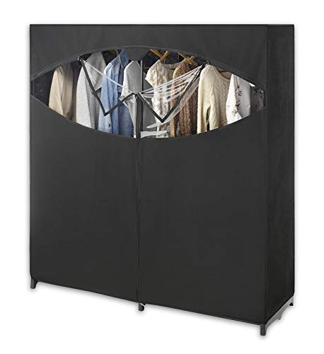 Whitmor Portable Wardrobe Clothes Storage Organizer Closet with Hanging Rack - Extra Wide -Black Color - No-tool Assembly - Extra Strong and Durable - 60'L x 19.5'W x 64'