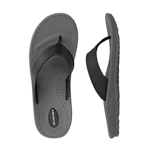 OKABASHI Men's Mariner Flip Flop Sandals (Large, Slate/Black)