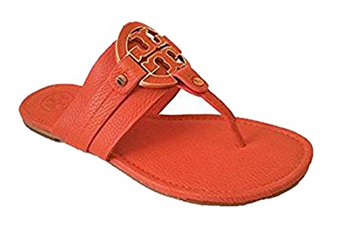 Tory Burch Amanda Flat Thong Shoes Tumbled Leather New Fire Orange 8
