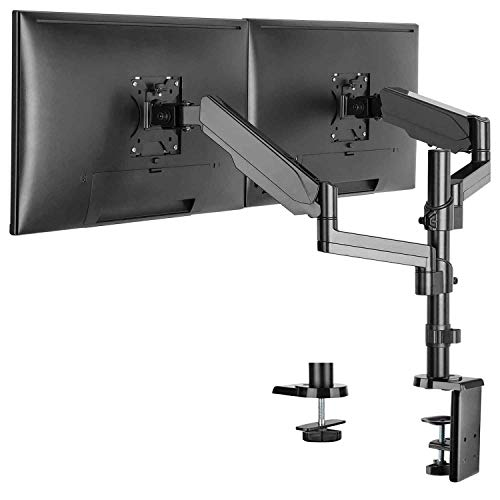 WALI GSDM002 Premium Dual LCD Monitor Desk Mount Fully Adjustable Gas Spring Stand for Display up to 32 inch, 17.6 lbs Weight Capacity, Dual Arm, Black