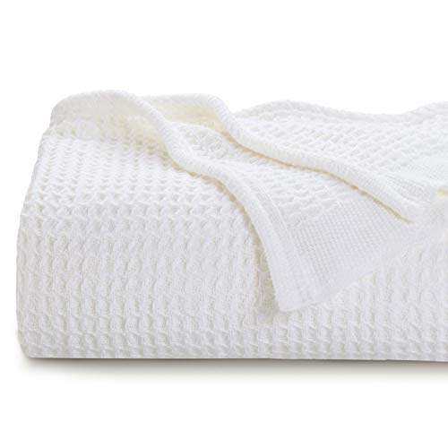 Bedsure 100% Cotton Thermal Blanket - 405GSM Premium Breathable Blanket in Waffle Weave for Home Decoration - Perfect for Layering Any Bed for All-Season - Full/Queen Size (90 x 90 inches), White