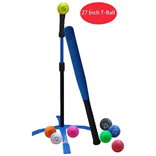 Macro Giant 27 Inch Safe T Ball, Tee Ball, T-Ball, 1 Blue Foam Bat & 8 Foam Baseballs, Training, Practice, Youth Batting Trainer Beginner, School Playground, Kid Gift, Birthday Gift