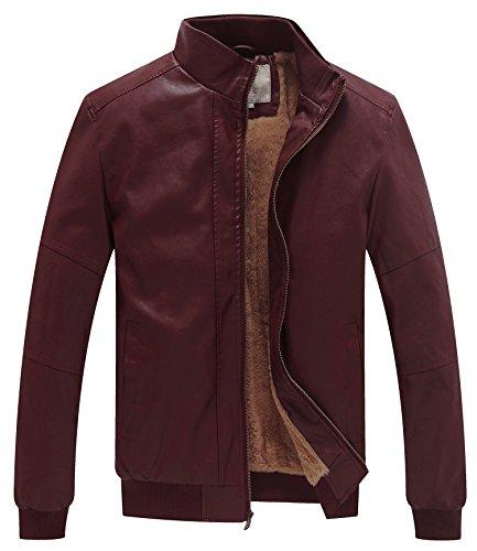 WenVen Men's Faux Fur Jacket Winter Warm Coats Outwear Wine Red 2XL