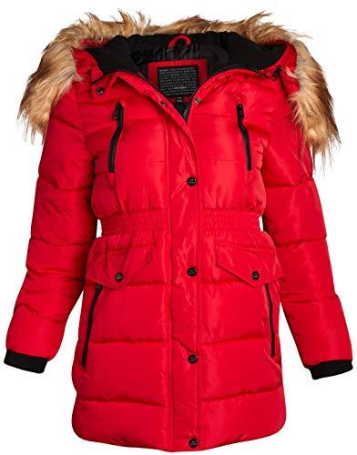 Steve Madden Girls' Winter Coat - Long Length Puffer Parka Ski Jacket with Faux-Fur Trimmed Hood, Size 7/8, Red