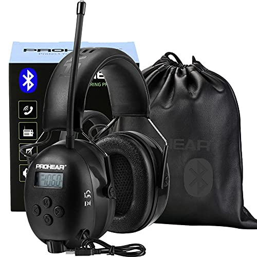 PROHEAR 033 Bluetooth FM/AM Radio Hearing Protection Headphones (Upgraded) with Rechargeable Battery, 25dB NRR Safety Noise Reduction EarMuffs, 48H Playtime for Mowing, Work Shops, Snowblowing - Black