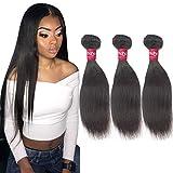 Haha Brazilian Straight Human Hair Bundles Weave Hair Human Bundles 8A Unprocessed Brazilian Virgin Hair 3 Bundles Deals Natural Color Straight Hair Extensions 8 8 8 Inch