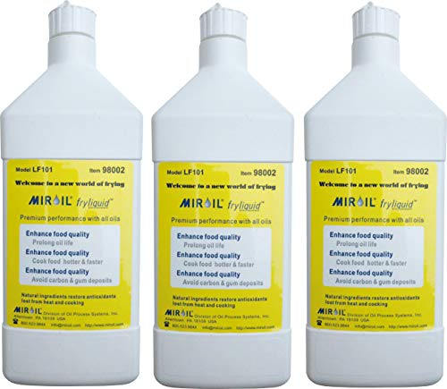 Miroil FryLiquid, 3 x 1 Litre Bottles, Reduce Oil Costs, Antioxidant for Fry Oil, Prevent Oil Breakdown, Fry Healthier, Vitamin Therapy for Deep Fryer Oil, Item LF301, 3 x 1 Litre (3)
