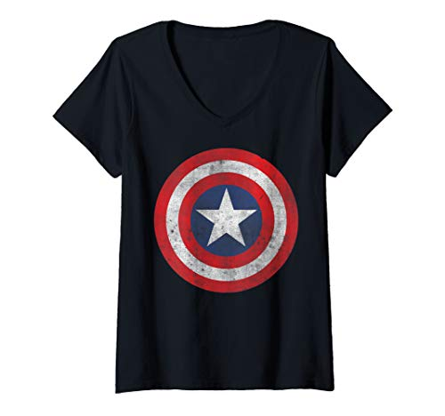 Womens Marvel Captain America Classic Shield Portrait V-Neck T-Shirt