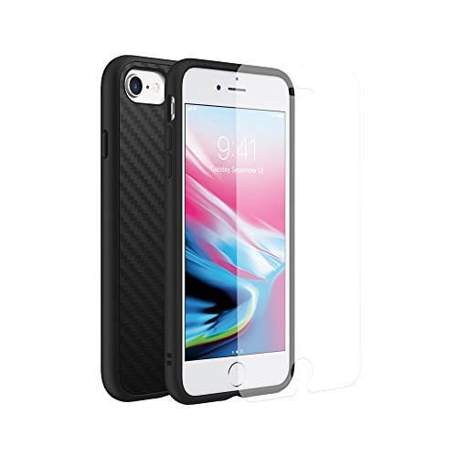 RhinoShield Full Impact Protection Case Compatible with [iPhone SE2 / SE (2020) / 8/7] | Military Grade Drop Protection, Scratch Resistant - Carbon Fiber Texture [Special Bundle w/Screen Protector]