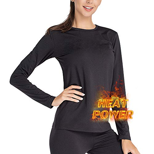 MANCYFIT Thermal Underwear for Women Long Johns Set Fleece Lined Ultra Soft (Black, Large (US 12-14))