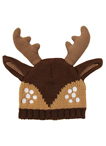 Deer Fawn Reindeer Knit Beanie Hat with Ears & Antlers Brown