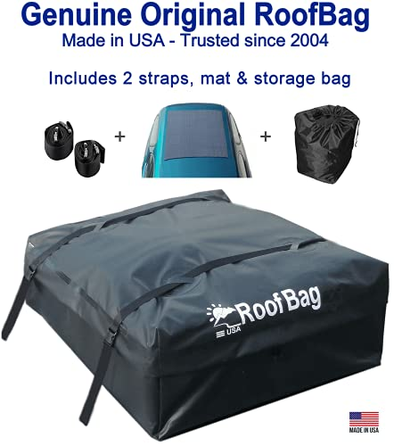 RoofBag Rooftop Cargo Carrier, Made in USA, 11 Cubic Feet. Waterproof Car Top Carrier for Cars with Racks or Without Racks Includes 2 Straps, Roof Protective Mat, Storage Bag