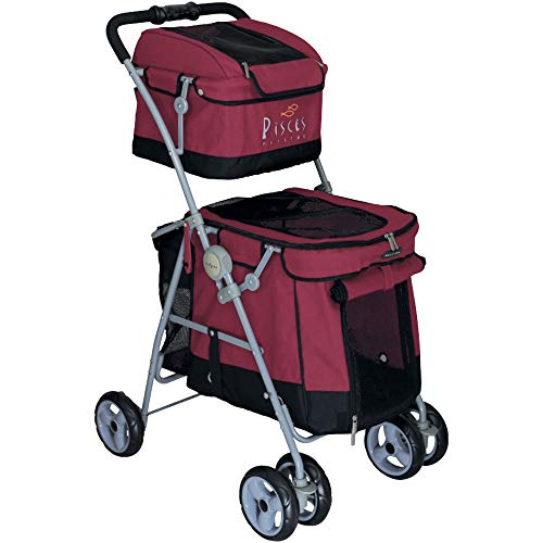 Pet Stroller Dog Duo with 2ETAGES Buggy Red